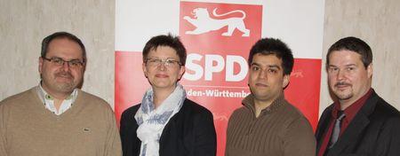 Die Calwer SPD-Kreisvorsitzende Saskia Esken mit ihren drei Stellvertretern (von links) Renato Fontes, Zishan Shaid und Andreas Röhm.
