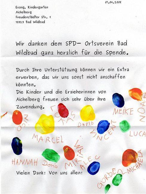 Spende An Den Evangelischen Kindergarten Aichelberg Die Spd Im